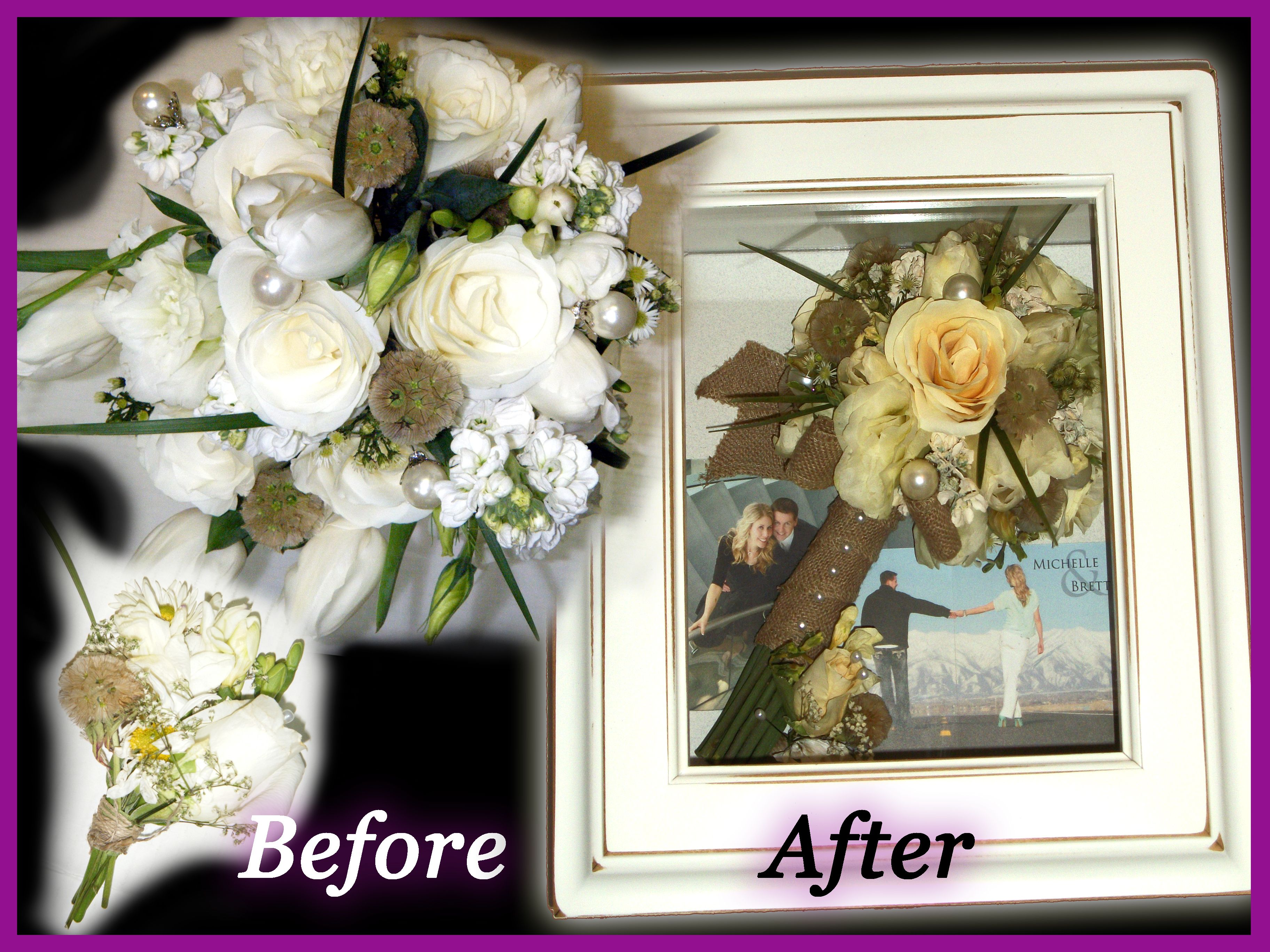 Rustic Spring Wedding Bouquet and Boutonniere Before and
