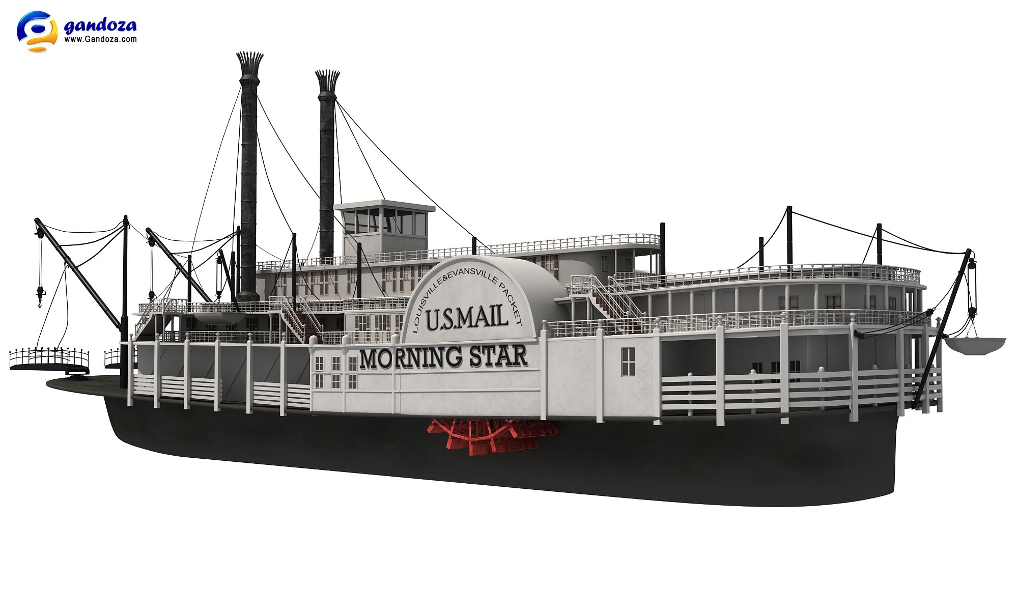 Realistic Model Of Old Paddle Wheel Steam BoatComes With Detailed Texture Up To 6100 X Pixels For Main BoatNative Format Is MaxThe Max File Come