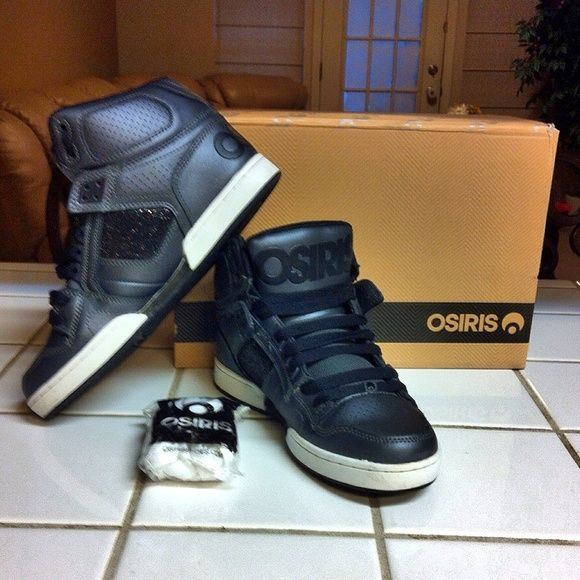 49e04f4dca29 Osiris high tops Authentic with box and extra shoe laces osiris black high  tops shoes. Used twice. Basically new. Stylish and fashionable piece.