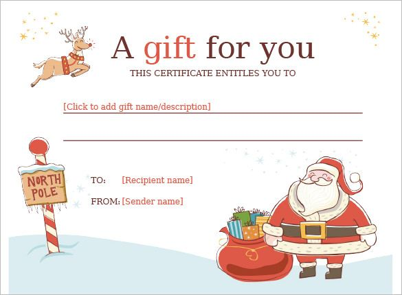 Christmas Gift Certificate Template - 11 Word, PDF Documents - printable christmas gift certificate
