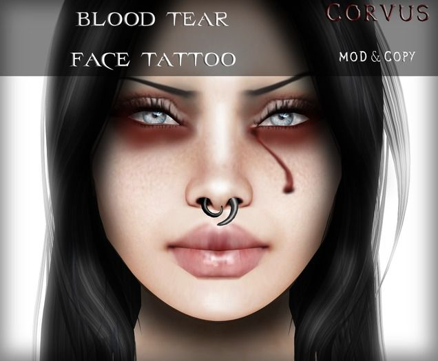 c4d0267e8 Blood Tears, Face Tattoos, Second Life, Gothic Makeup, Eyeshadow, Septum
