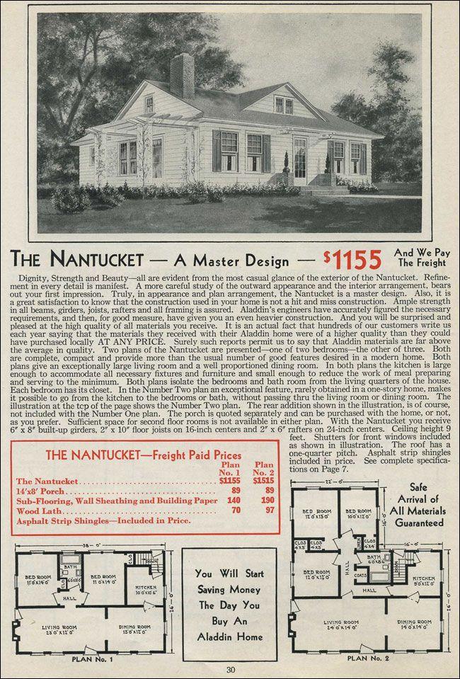 1931 Aladdin Nantucket Vintage House Plans House Plans Small House Plans