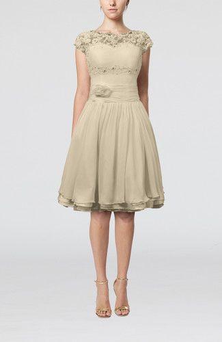 Cinderella Scalloped Edge Short Sleeve Chiffon Knee Length Lace Bridesmaid Dresses
