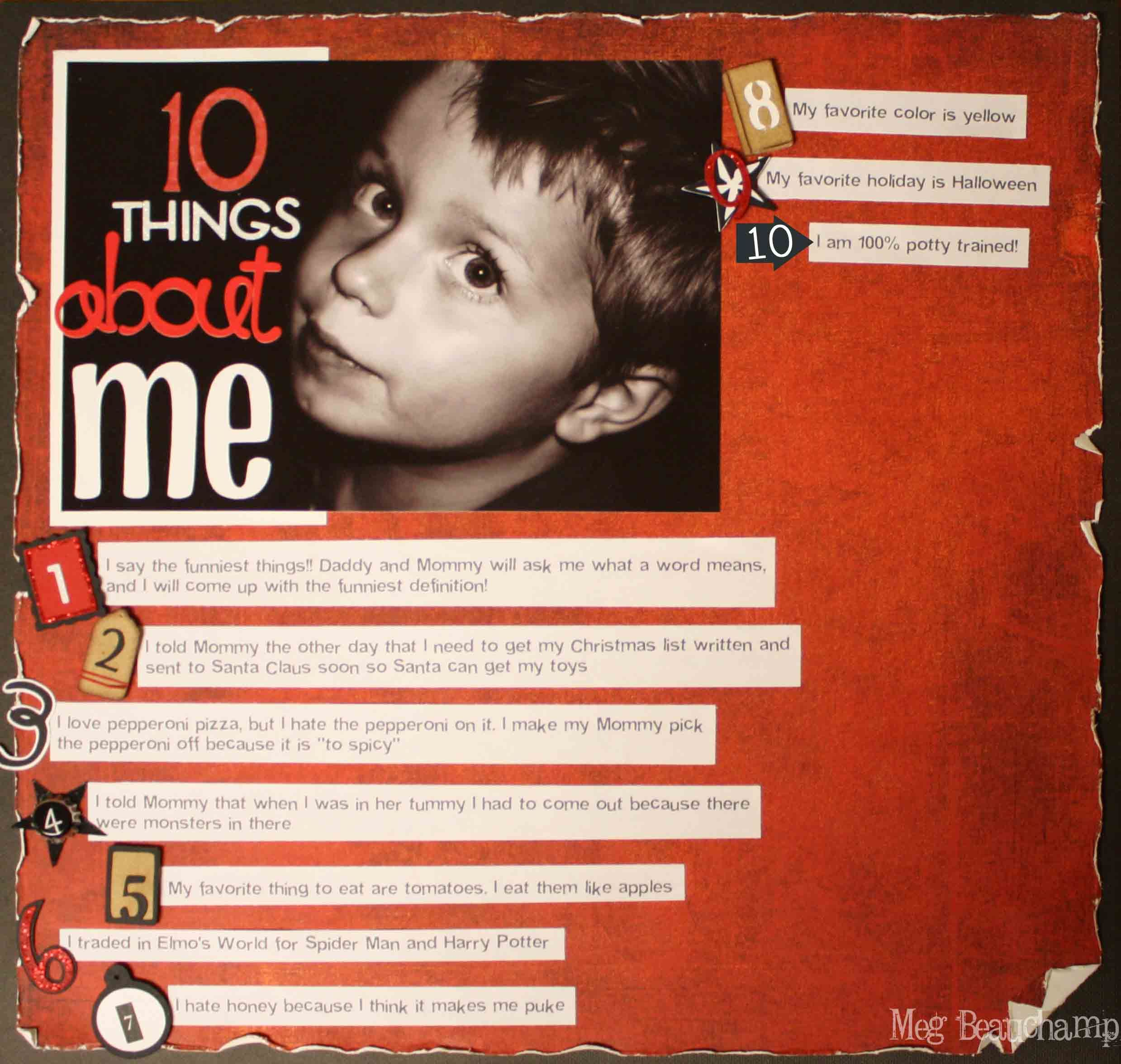 10 Things About Me Scrapbook Scrapbooking Pinterest