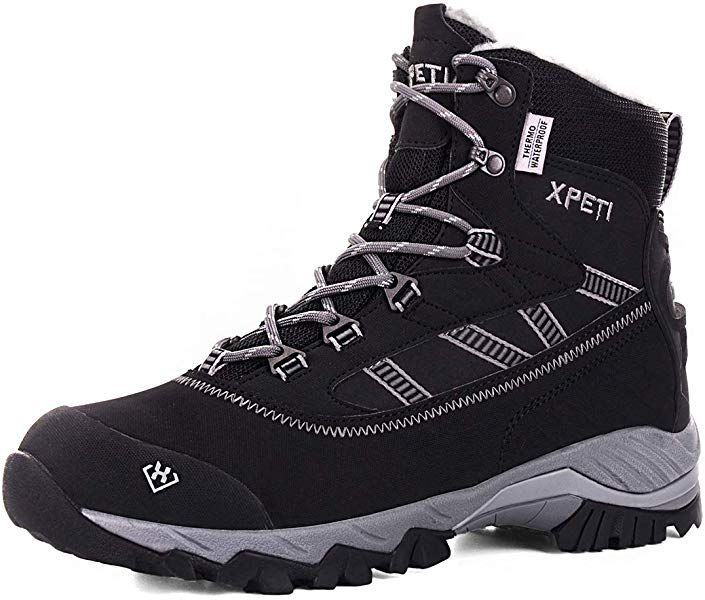 456fb1658a0 XPETI Men s Oslo Winter Snow Mid-Rise Waterproof Multifunctional Hiking  Warm Fur Lining Boots Black