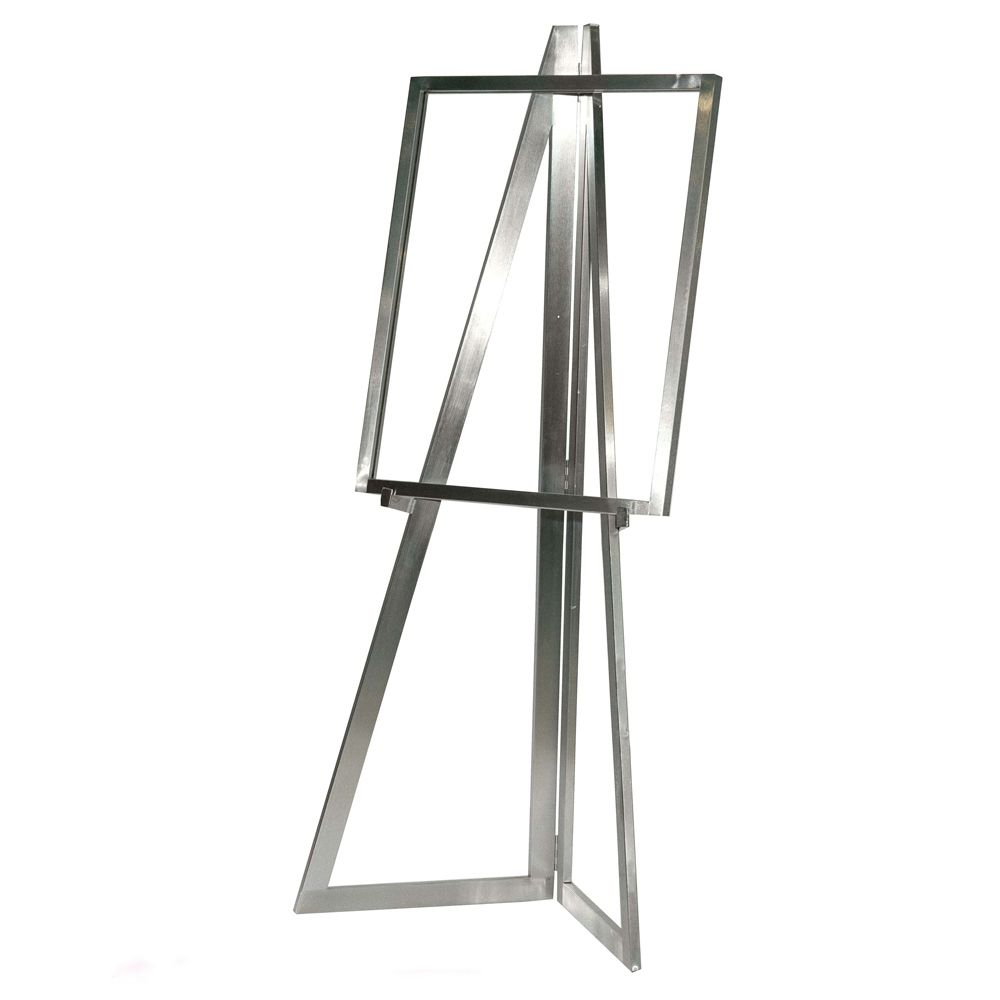 Floor Standing Folding Easel Attractive Ultra Modern Design In Por Satin Chrome Finish Will Hold Any Size Card Or Poster Overall Height Is Each Base
