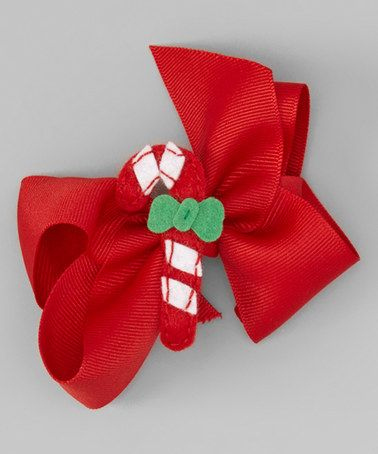 This Red Candy Cane Appliqué Bow is perfect! #zulilyfinds