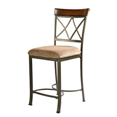 Powell Cafe Brushed Cherry Fabric Metal Wood Hamilton Counter Stool