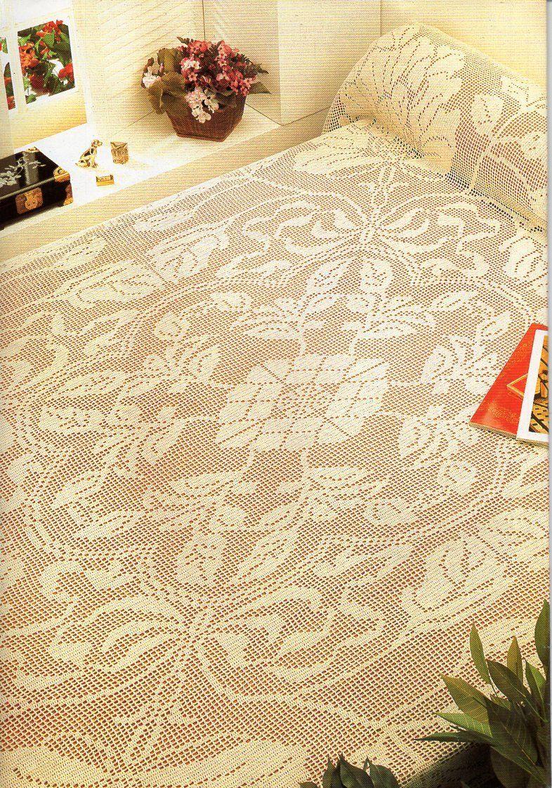 Filet Crochet Bedspread Pattern Crochet Pattern Pdf Chart Pattern
