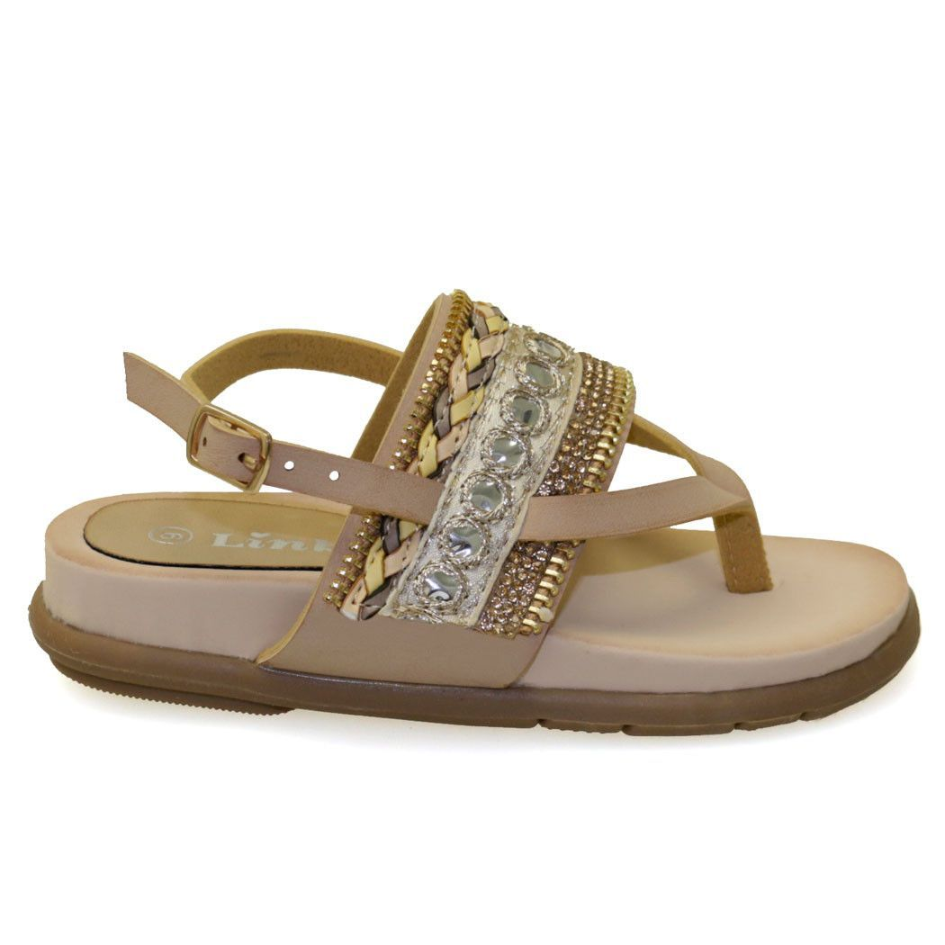 Anya-7K Kid's Taupe Tribal Jeweled Detail Flat Sandals
