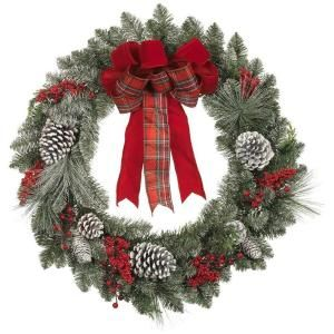 martha stewart living 30 in artificial wreath with snowy pinecone and berries 1758944 at the. Black Bedroom Furniture Sets. Home Design Ideas