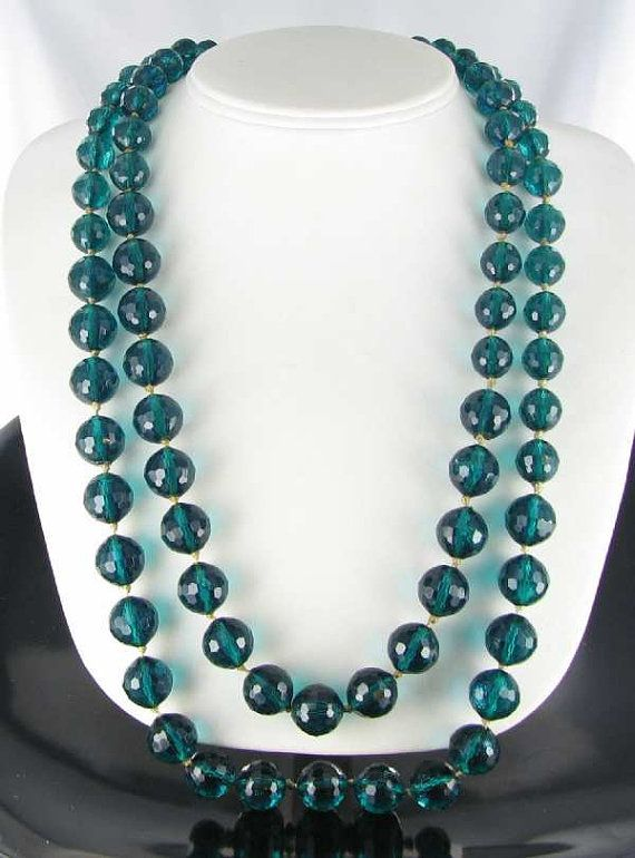 Green Hand Knotted Faceted Lucite 2 row necklace by vintagejewelrylane, $17.99