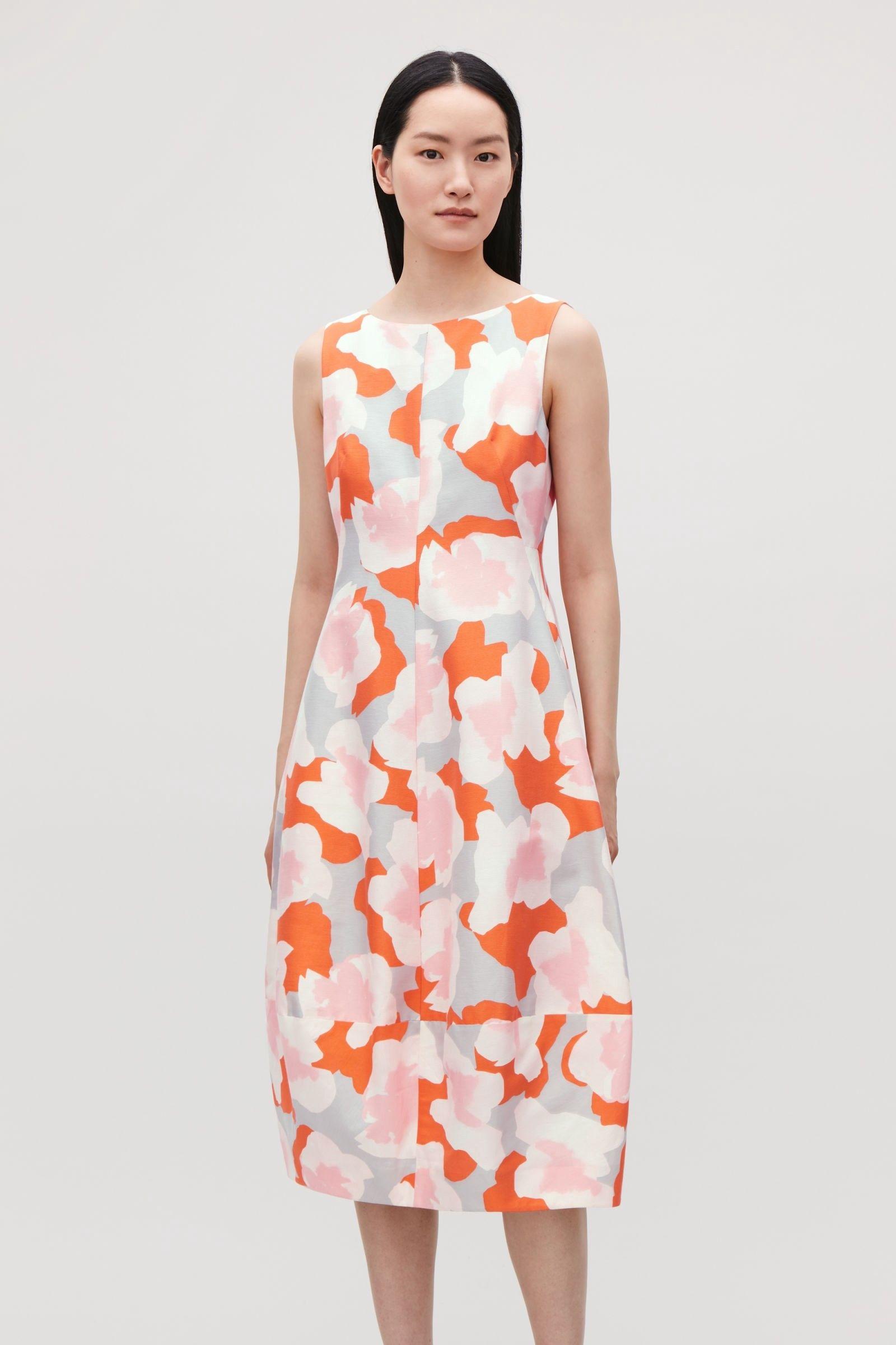 3269c9c0f Cos Printed Cocoon Dress - Orange / Pink Grey 12   Products ...