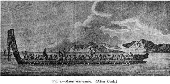 Maori Origins: Fig. 8.—Maori War-canoe. (After Cook.)
