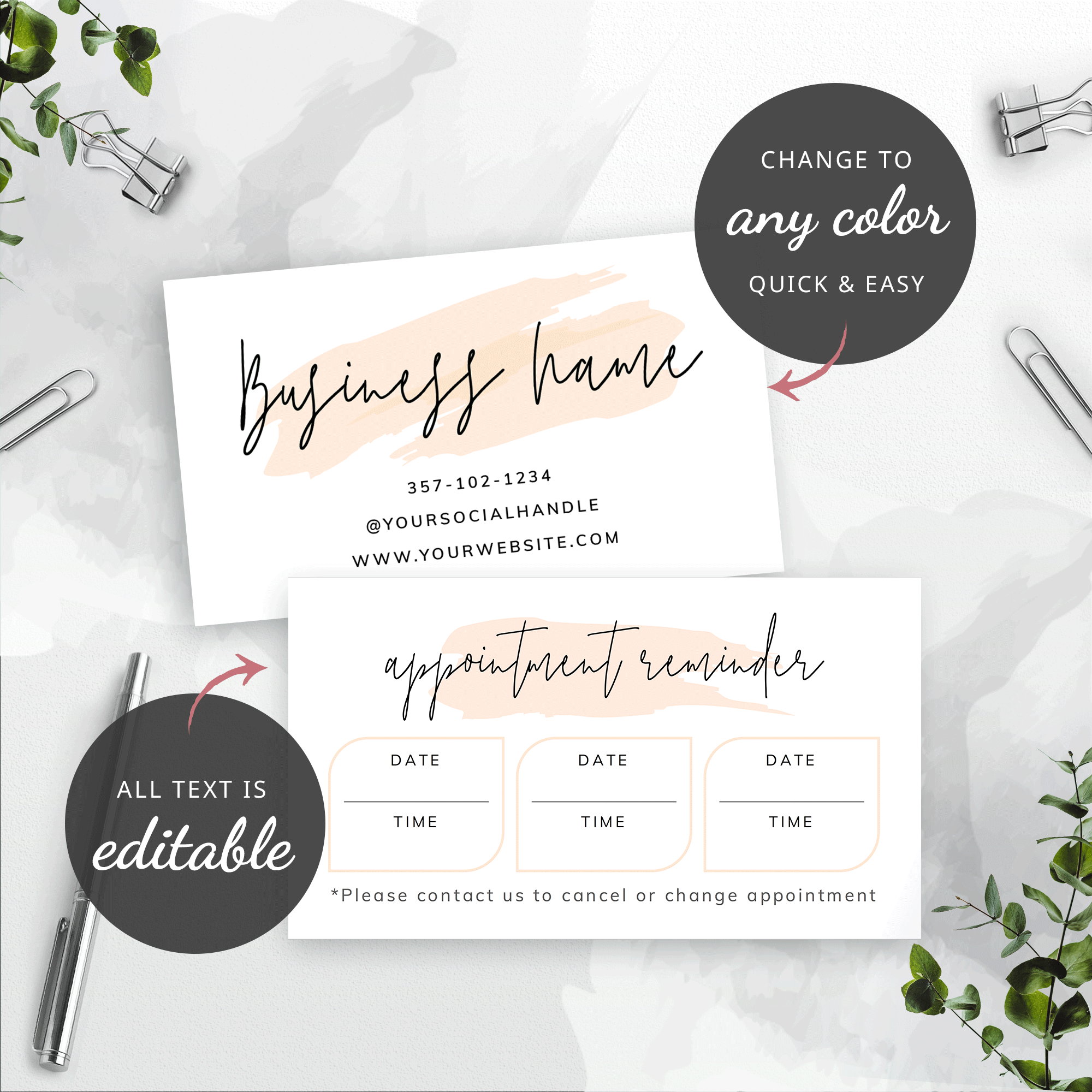 Printable Appointment Card Template Beauty Salon Booking Reminder Card Templates Editable Appointment Reminder Cards Design Lashes Corjl Card Template Photography Invoice Template Business Letter Template