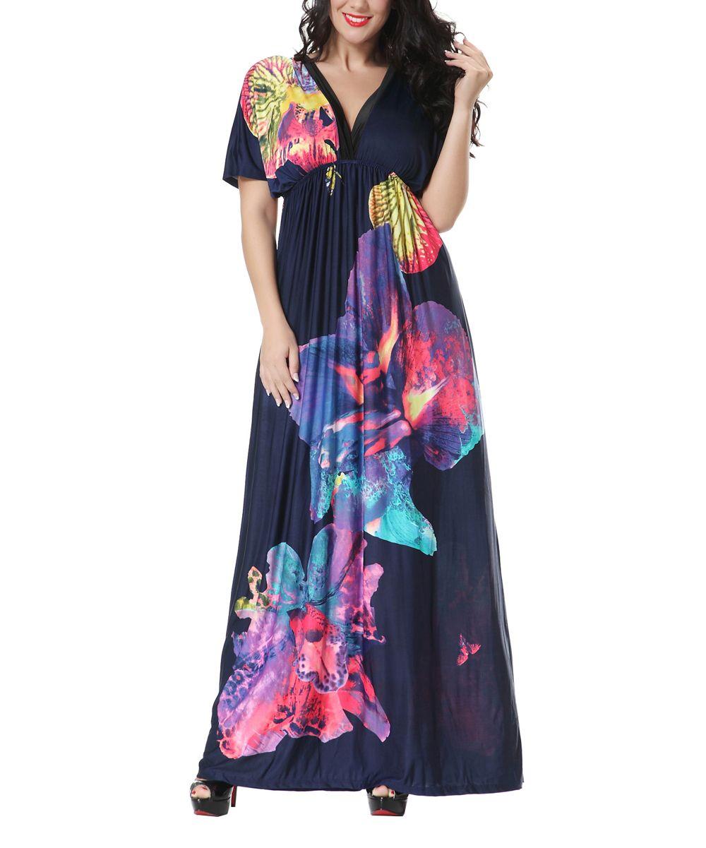 559525c9aad Navy Floral Cape-Sleeve Maxi Dress - Plus Too