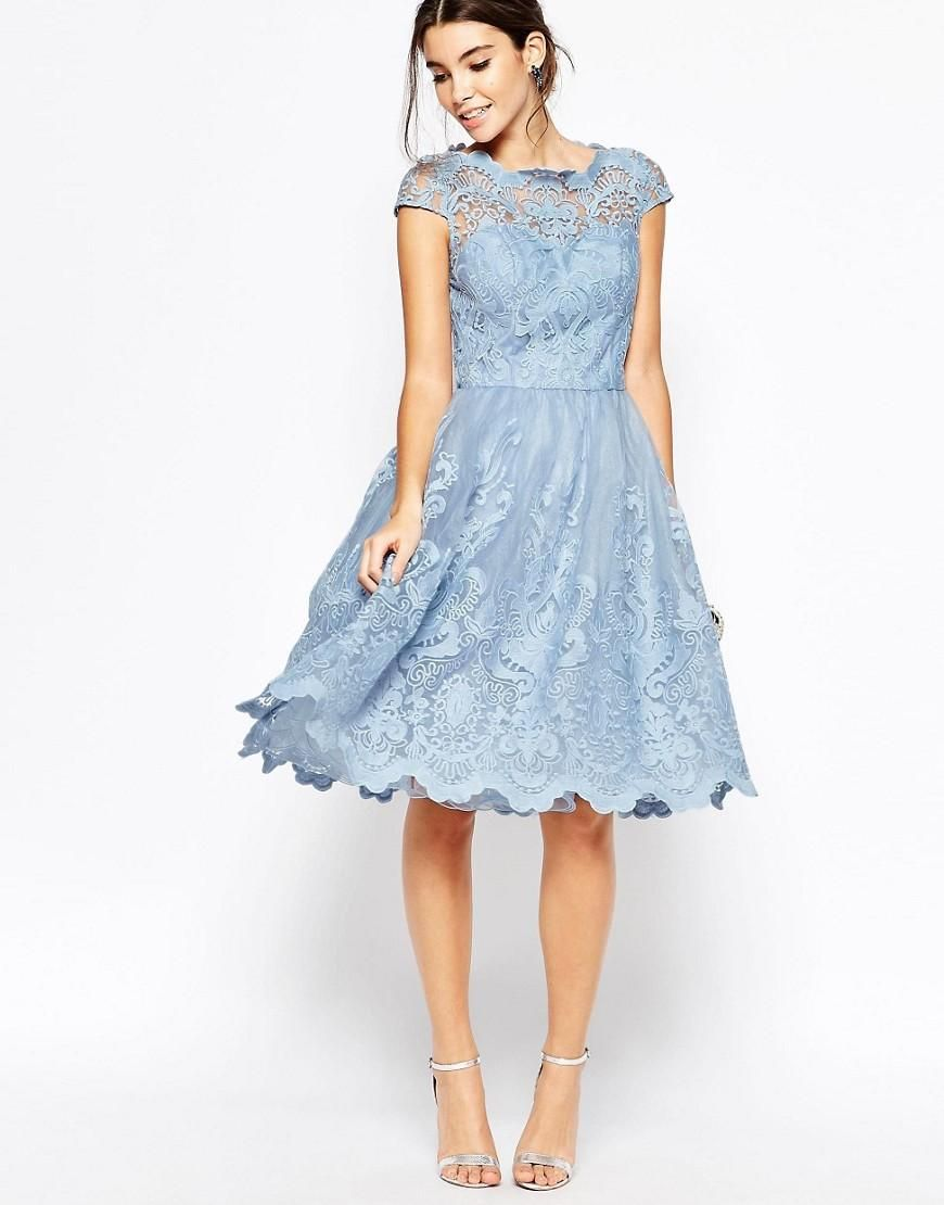 Chi Chi London   Chi Chi London Premium Lace Midi Prom Dress with Bardot  Neck at ASOS 1c663781fe