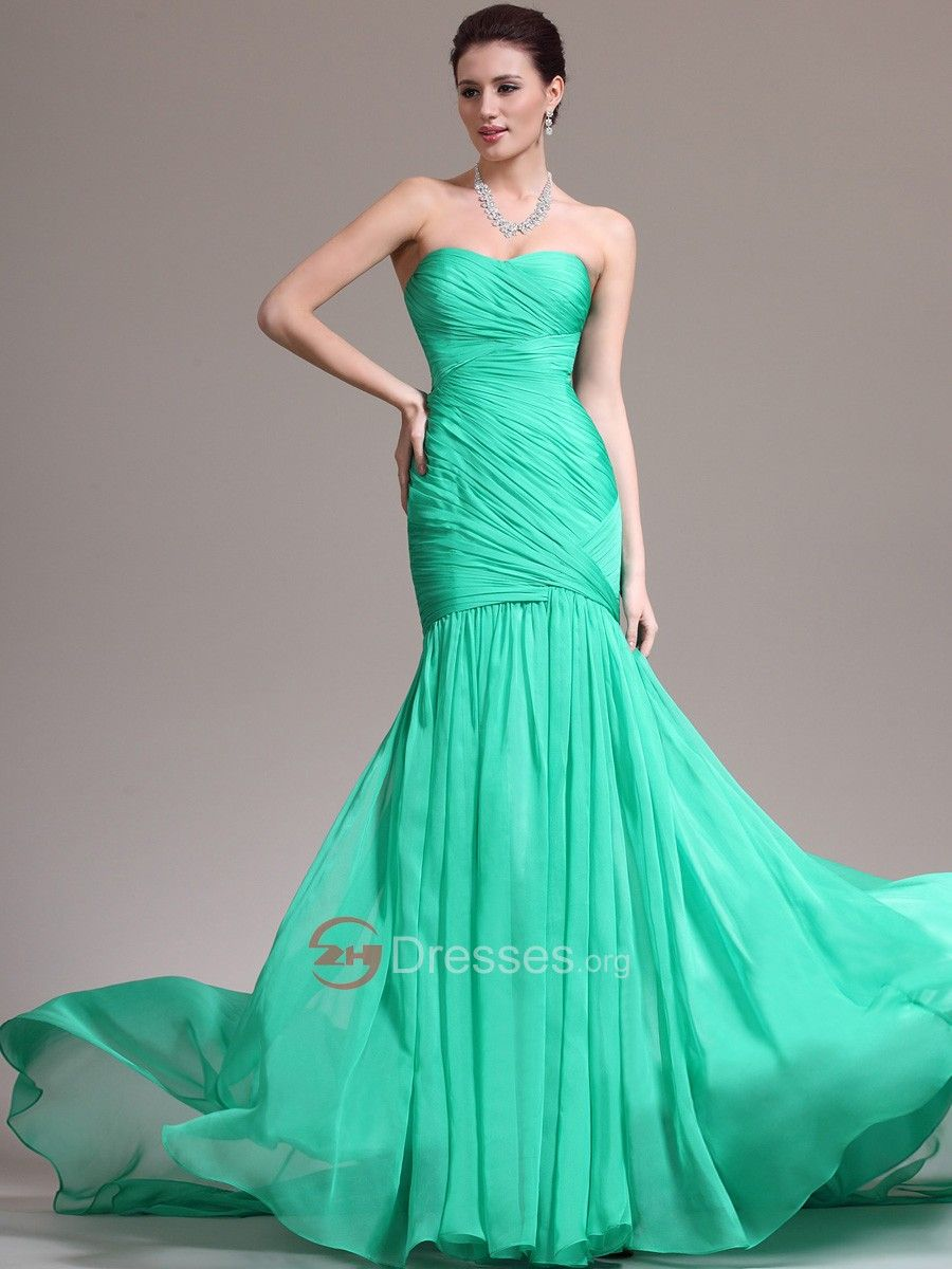 Best Looking Crisscross Pleated Strapless Mermaid Chiffon Prom Dress ...