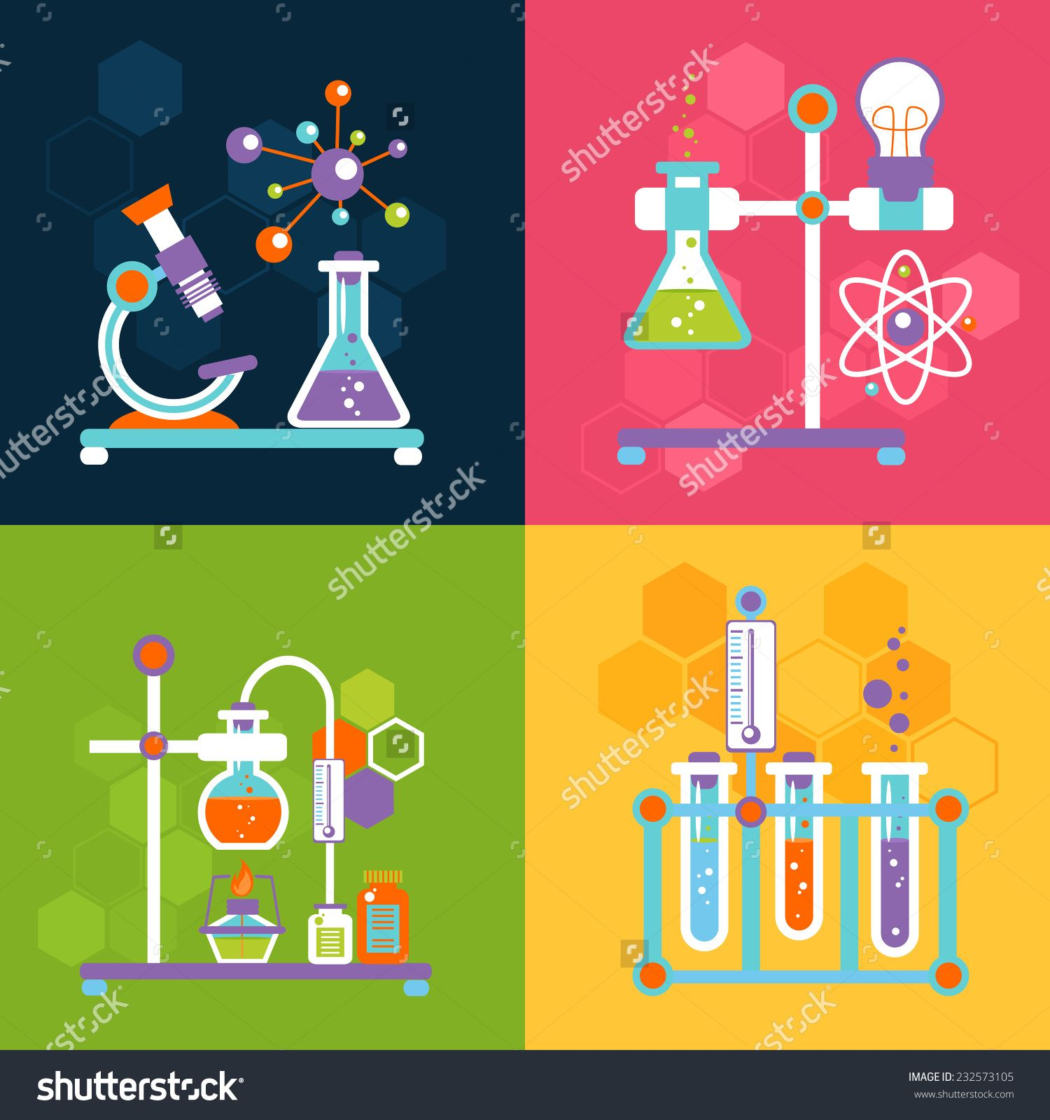 Chemistry decorative flat icons set with lab test and ...