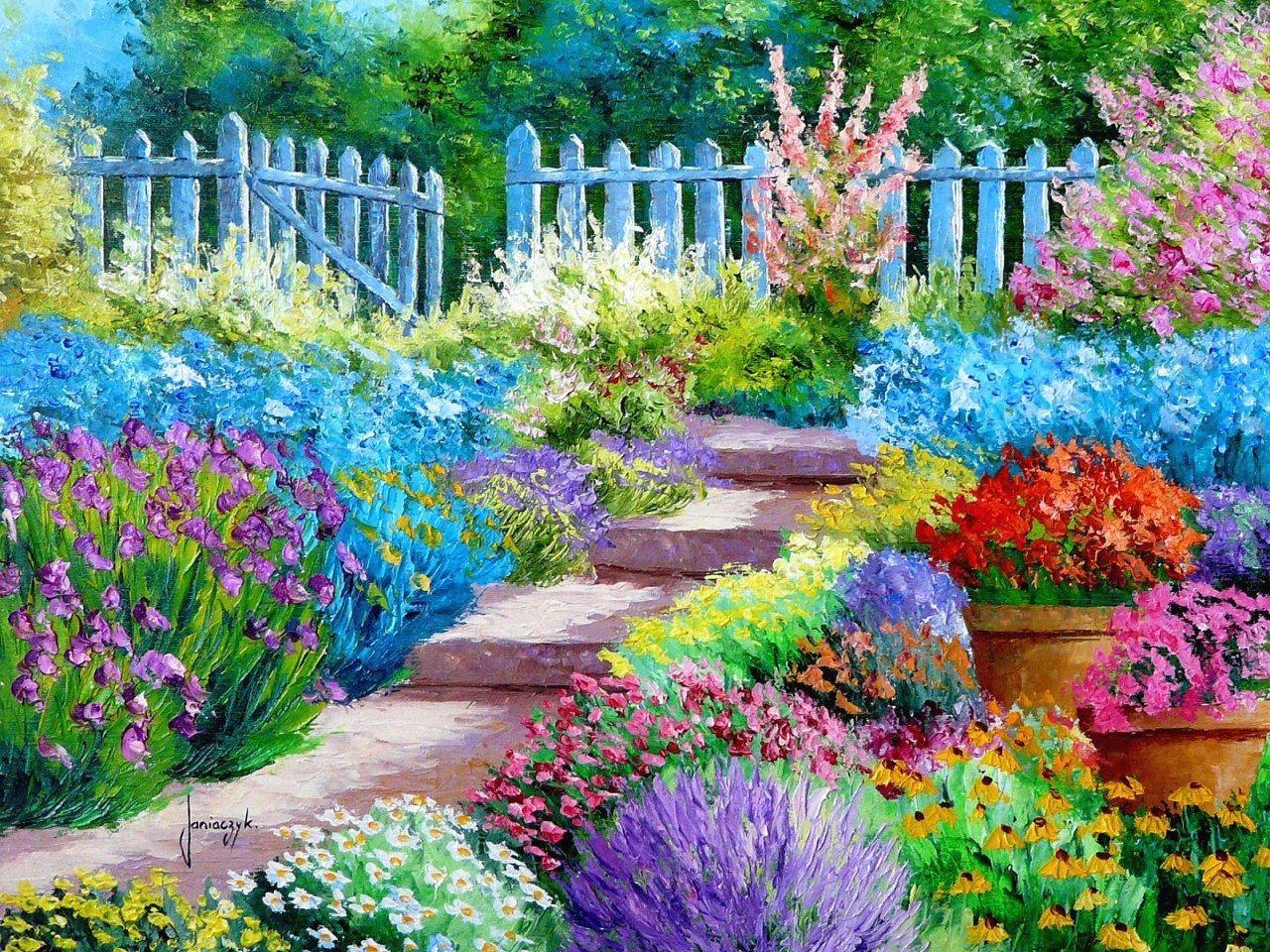Simple Flower Garden Paintings jean-marc janiaczyk – flower garden painting widescreen wallpaper