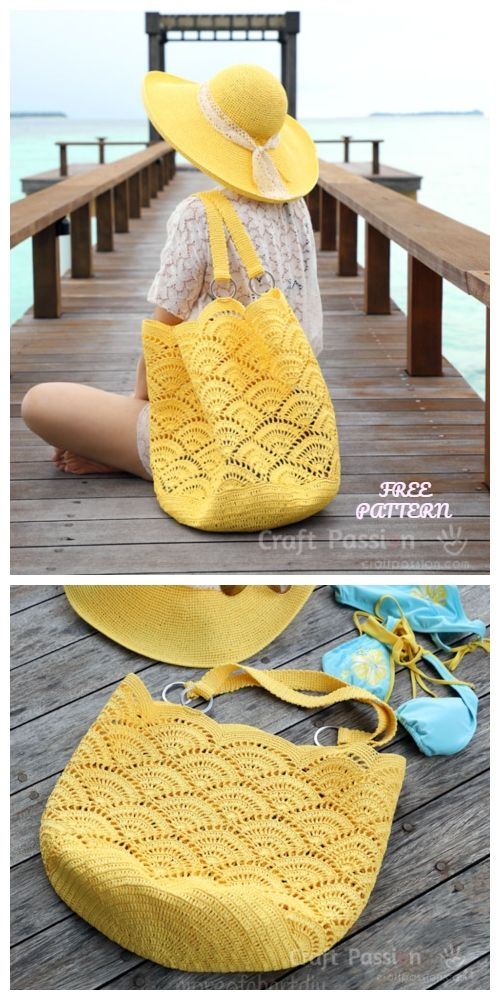 Crochet Shell Stitch Beach Tote Bag Free Crochet Pattern #crochethandbags