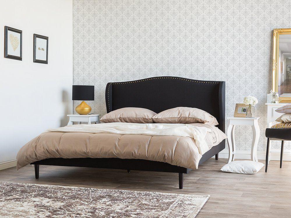 łóżko Czarne Tapicerowane 180 X 200 Cm Colmar Sypialnia W