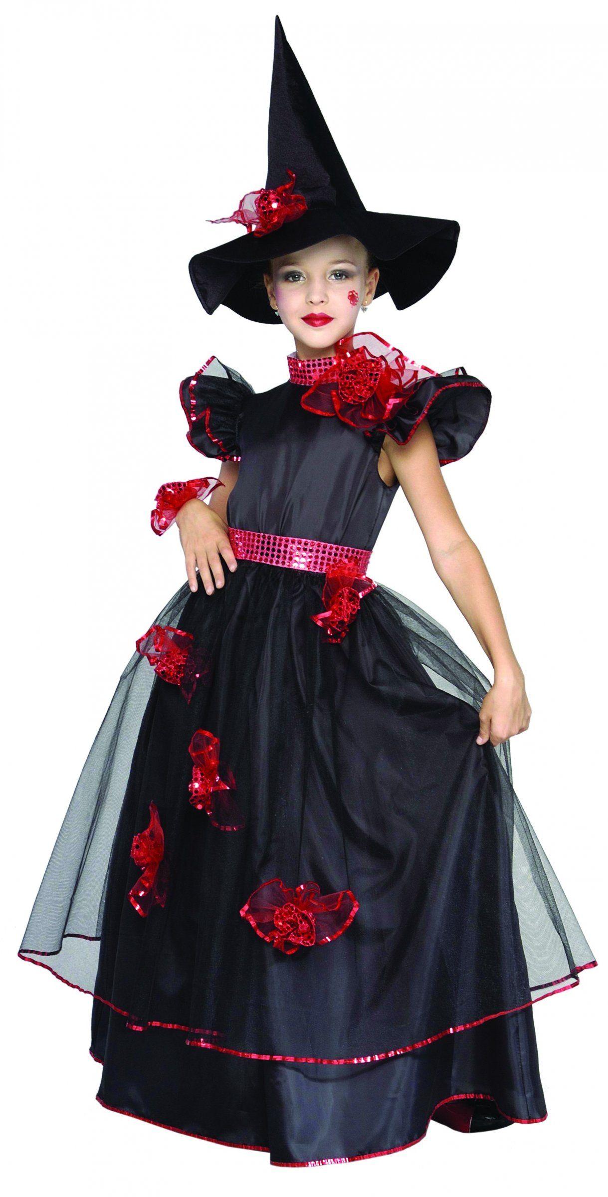 77038464ec5ae Déguisement sorcière fille   Ce déguisement de sorcière pour fille se  compose d une robe et d un chapeau. La robe noire et rouge est recouverte  de tulle.