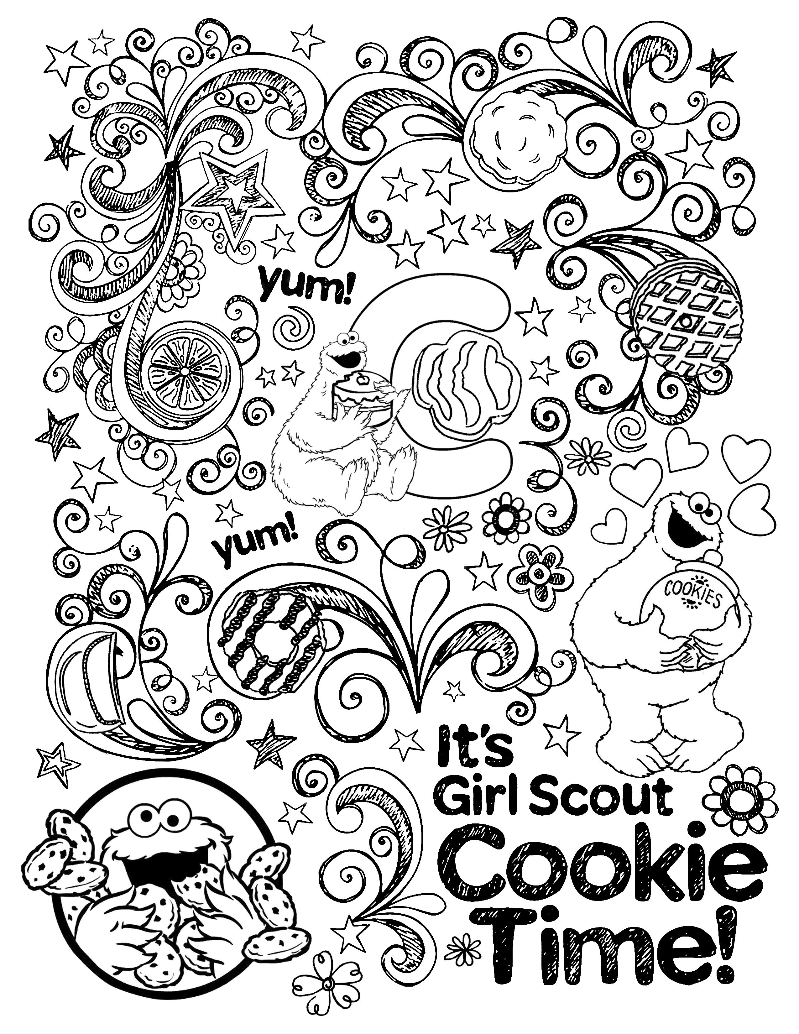 Girl Scouts Cookie Coloring Page Girl Scout Brownies Meetings