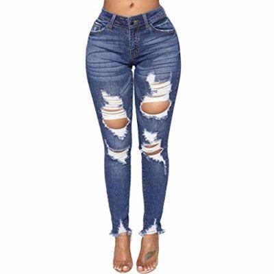e9afc154b2 Vaqueros Mujer Rotos STRIR Mujer Elásticos Skinny Jeans Pantalones Algodón