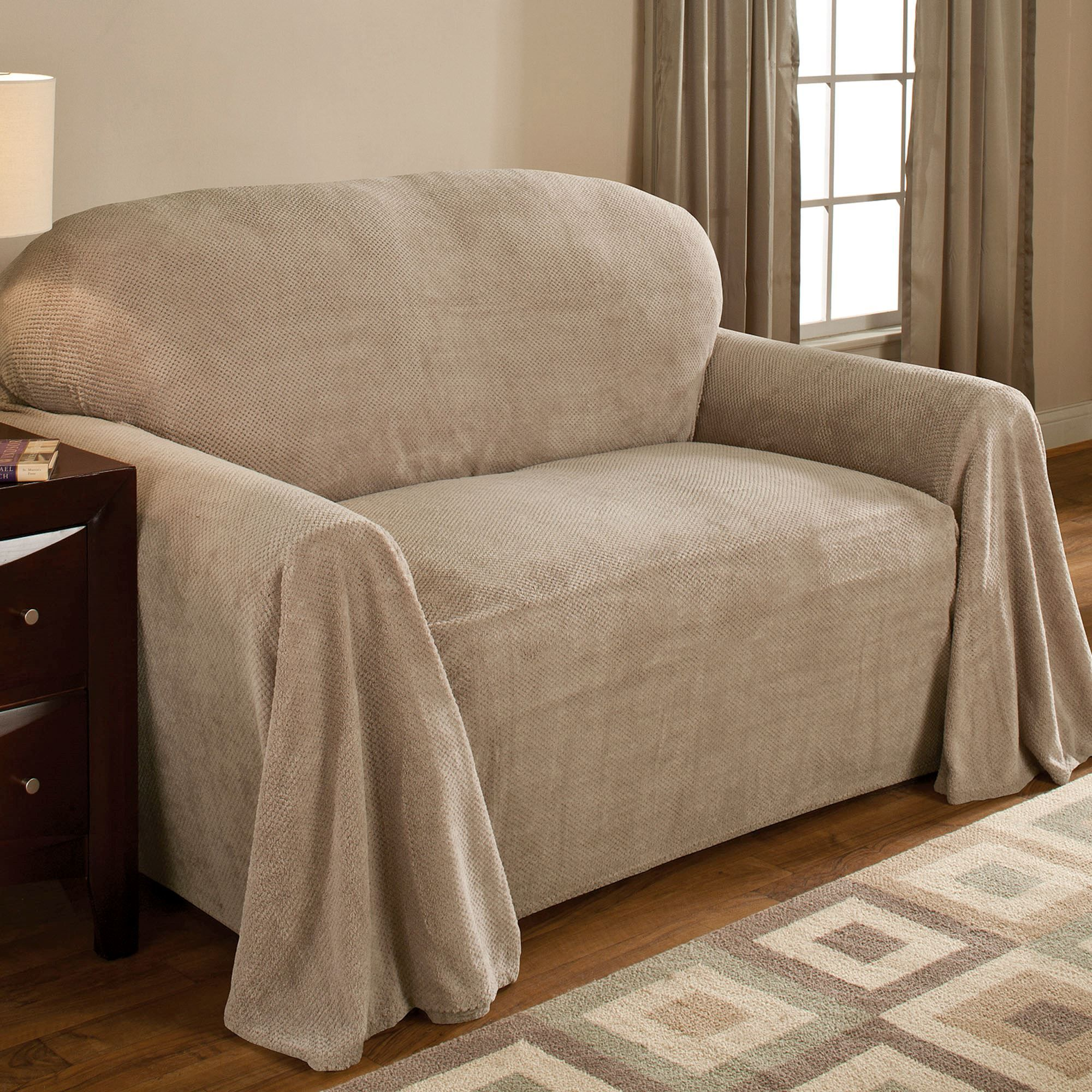 Coral Drapable Fleece Furniture Protector | staging ideas | Sofa ...
