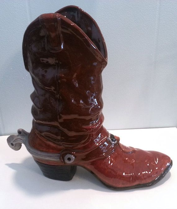 Handmade Ceramic Cowboy Boot Planter Ooak By Hellosweetie On Etsy