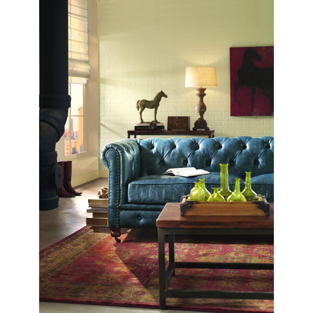 Home Decorators Collection Gordon Blue Leather Sofa 0849400310 The Home Depot Blue Leather Sofa Sofa Home Brown Living Room Decor