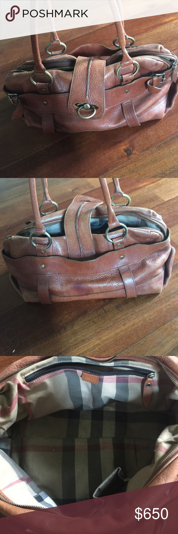 Burberry handbag Authentic Burberry purse. Zippers all still work alittle worn but has a lot of life left. Burberry Bags Shoulder Bags