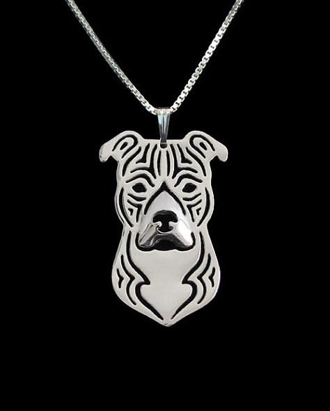 Bull Terrier Dog Face Necklace /& Pendant Metal Chain Rose Gold Tone English