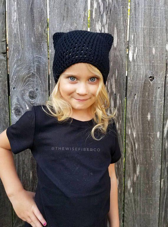 46350004555f6 Crochet Kitty Cat Ear Hat   Beanie   Tuque