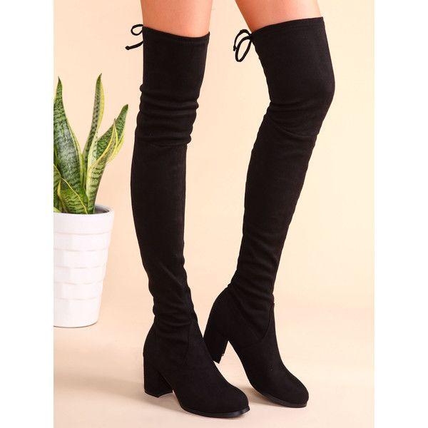 Thigh High Black Boots Heel