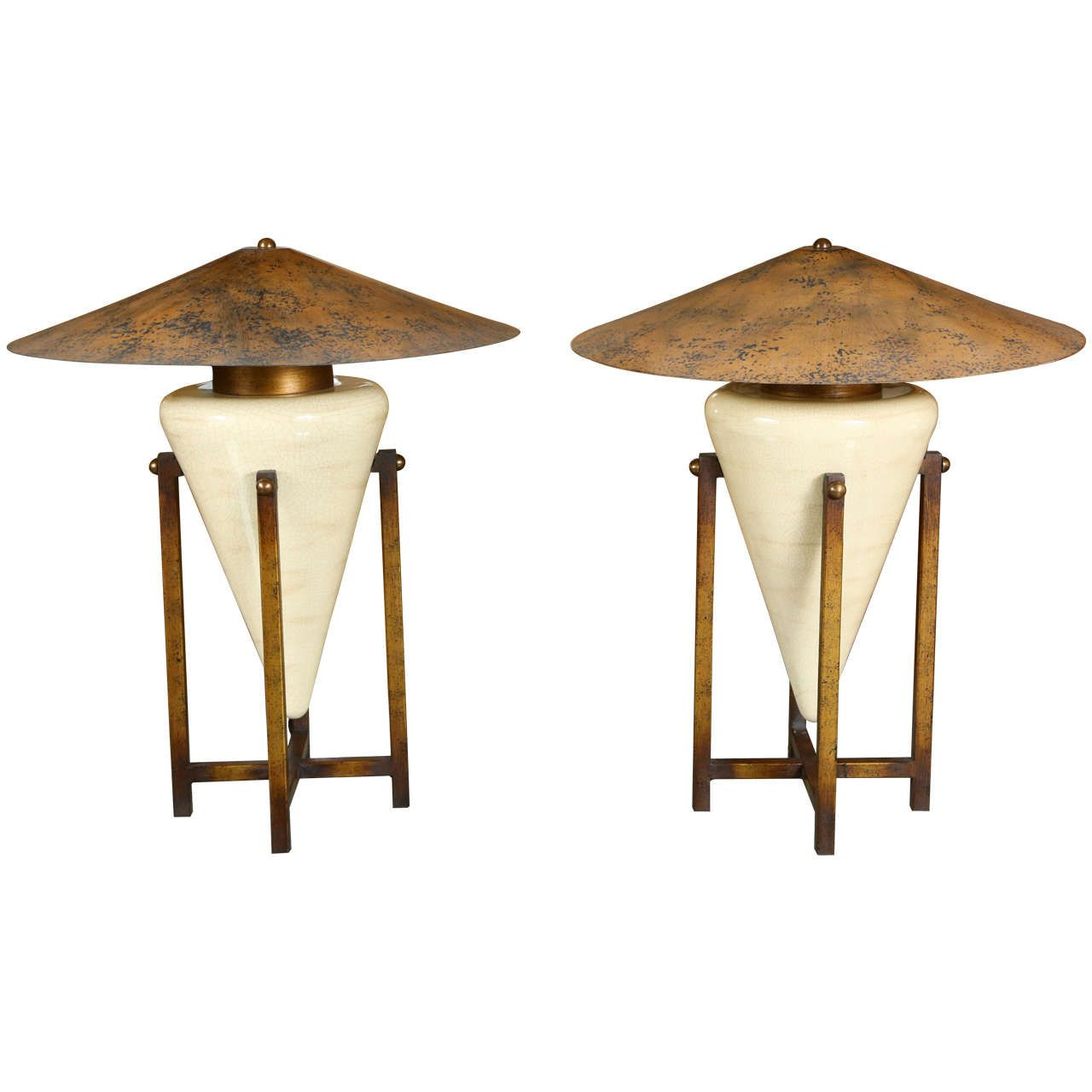 Unusual Table Lamps of unusual table lamps with ceramic bases in antiqued wooden cradles