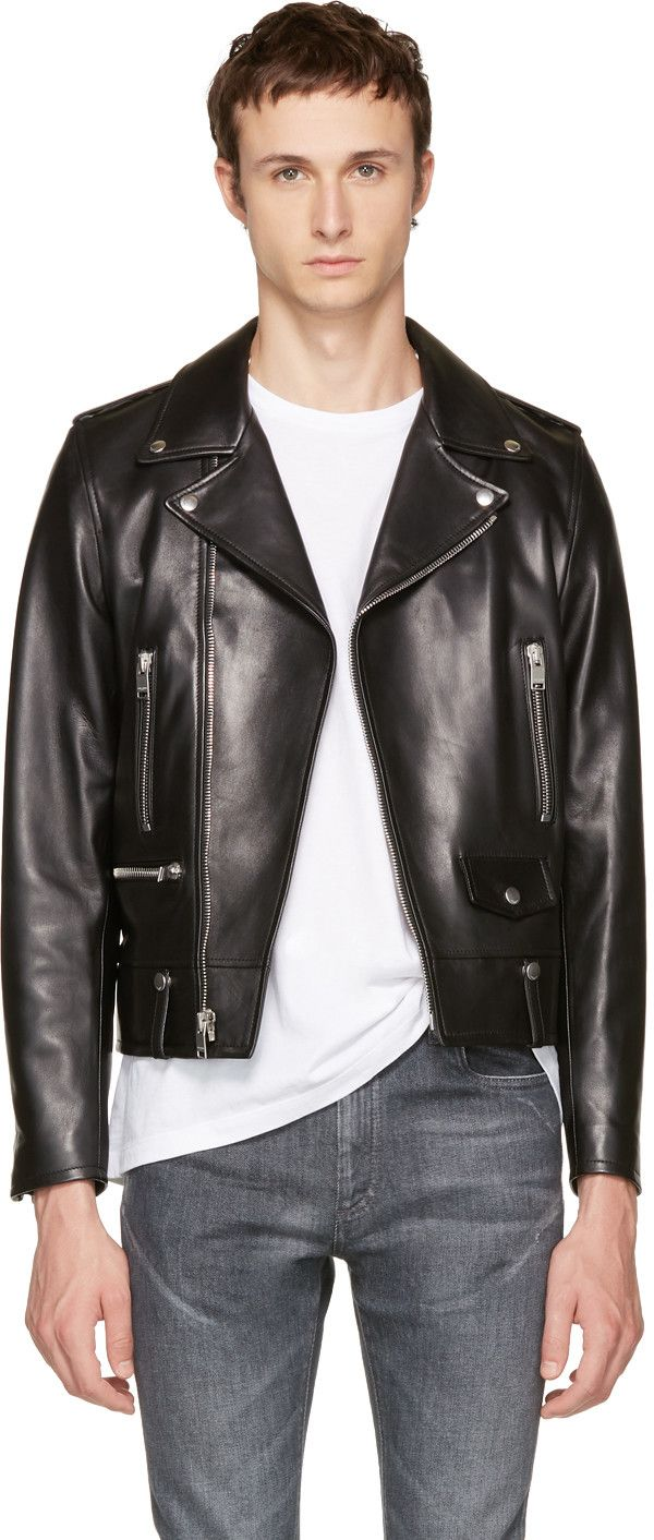 27b06b77 SAINT LAURENT Black Leather Classic L01 Motorcycle Jacket ...