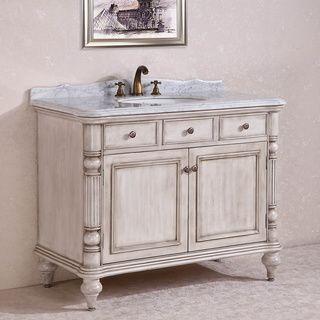 Carrara White Marble Top Single Sink Bathroom Vanity In Antique