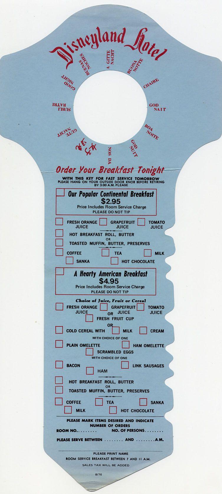 Disneyland hotel door hanger breakfast menu 1976