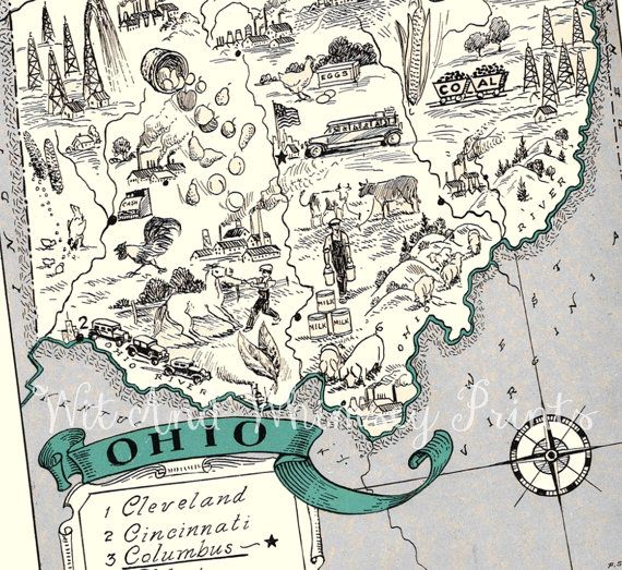 Vintage Map of OHIO Archival Print Whimsical Adorable Toledo