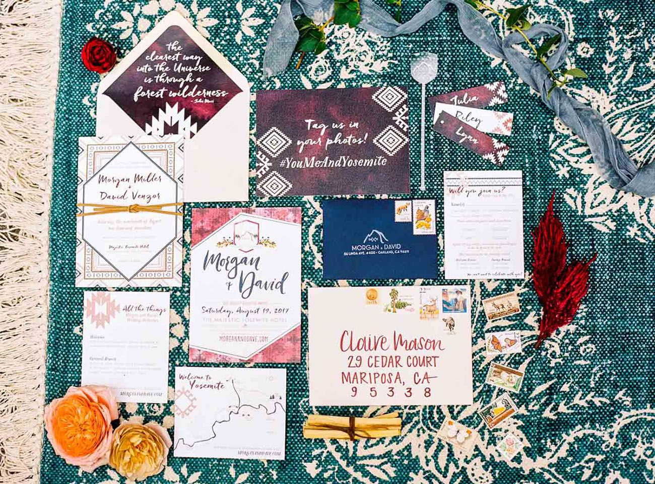 Yosemite Wedding Invitations: When A Wedding Planner Gets Married: Bohemian-Inspired