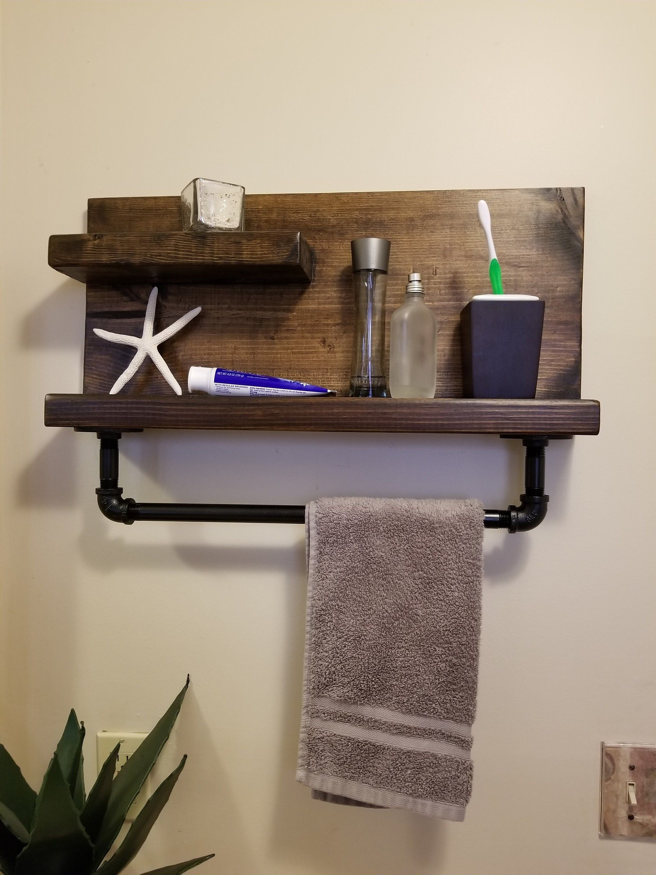Reclaimed Wood Bathroom Shelf With Towel Rack Bathroom Wood Shelves Towel Rack Wood Bathroom