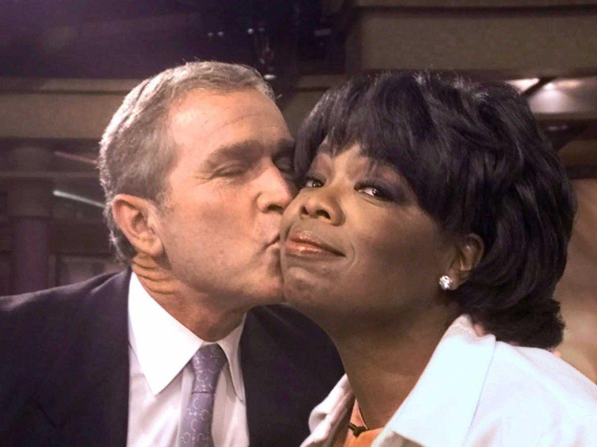 Image result for george w bush kissing oprah