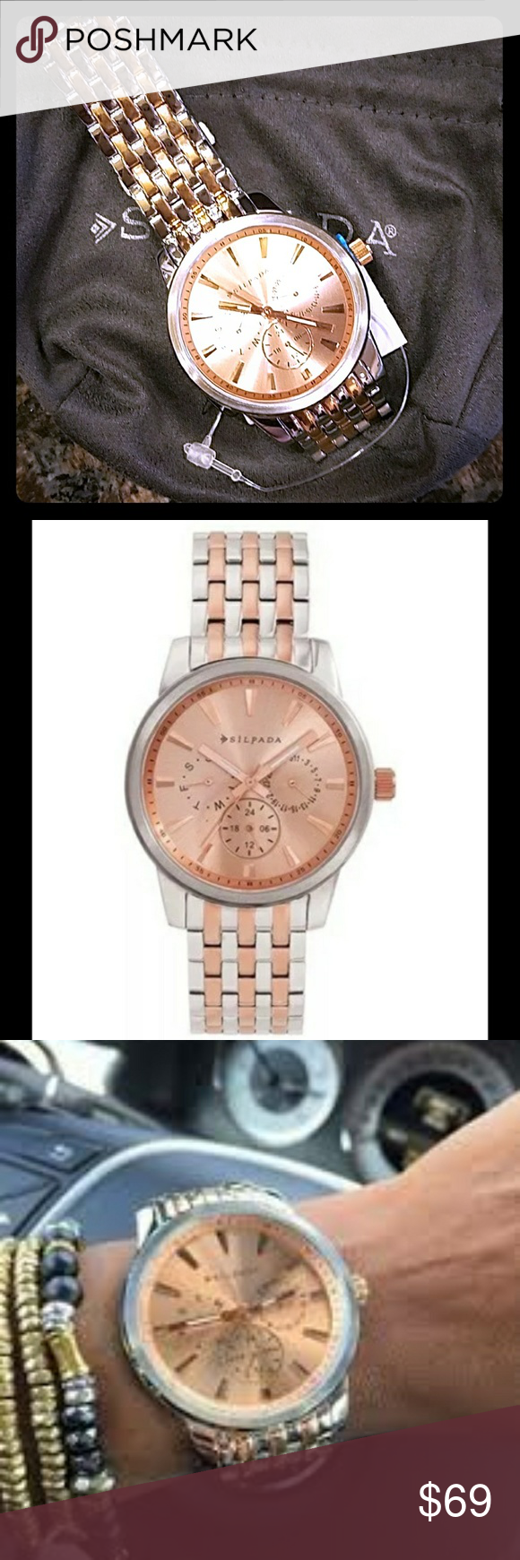 Silpada At First Blush Rose Gold Silver Watch NWT New With Tag