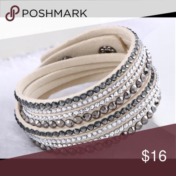 Women/'s Bling Crystal Rhinestone Leather Bracelet Multilayer Bracelet Bangle FR