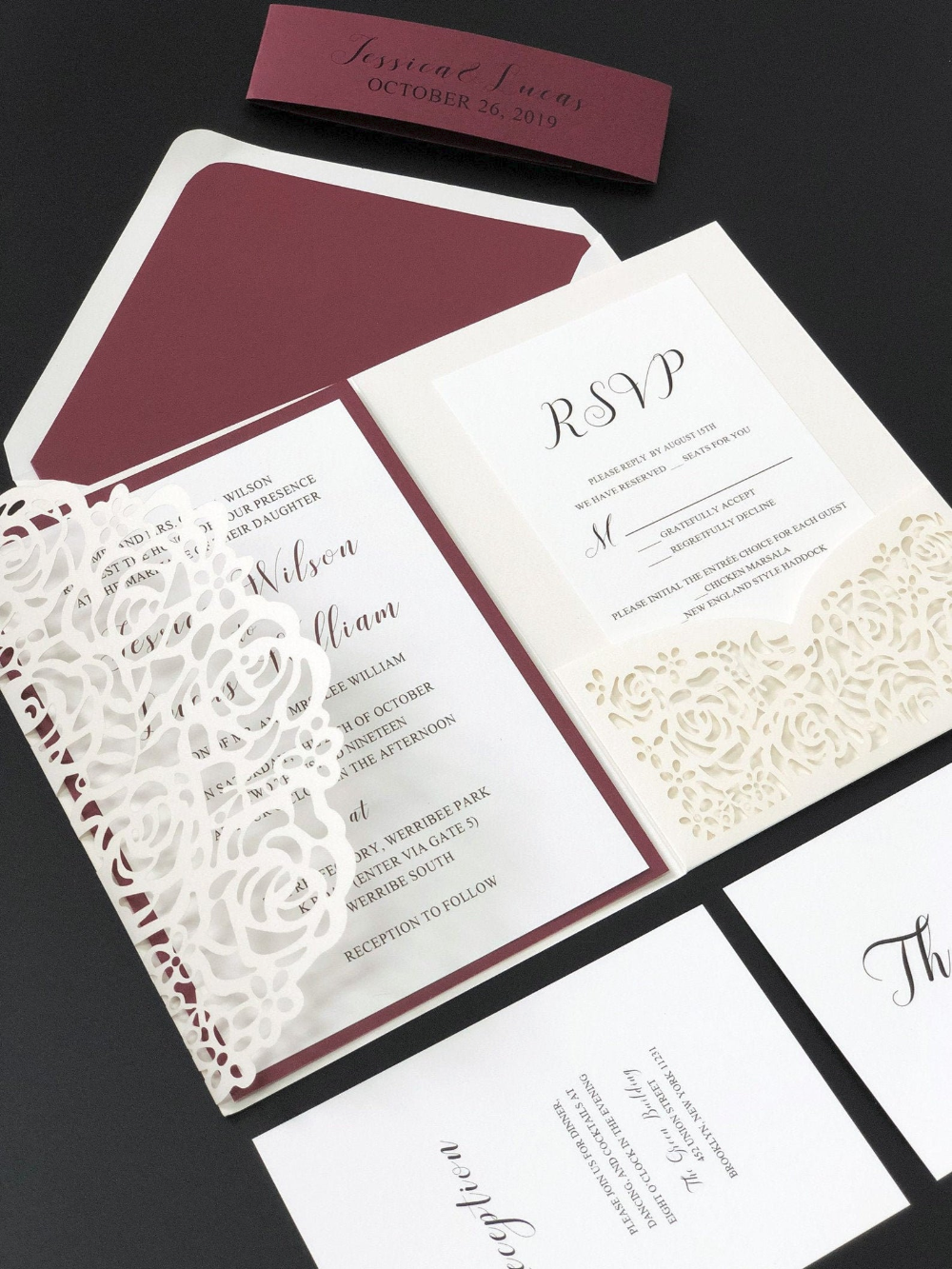 Elegant Burgundy Laser Cut Wedding Invitations with Free