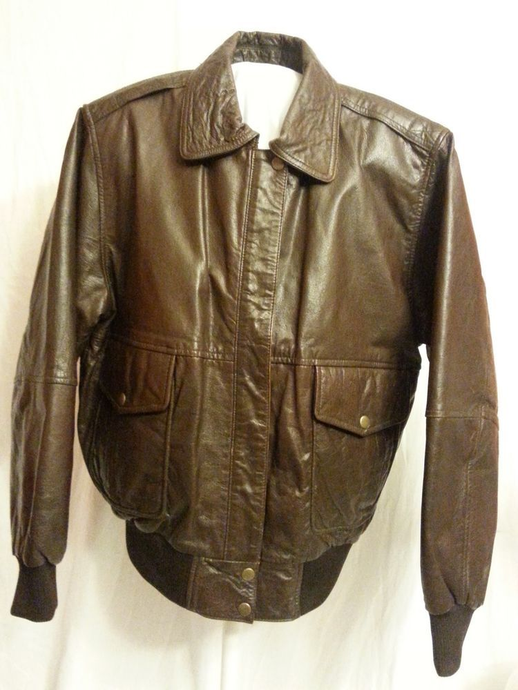 4bcae3749 Vintage Leather Jacket Size Small Tower Hill Sport Brown Motorcycle ...