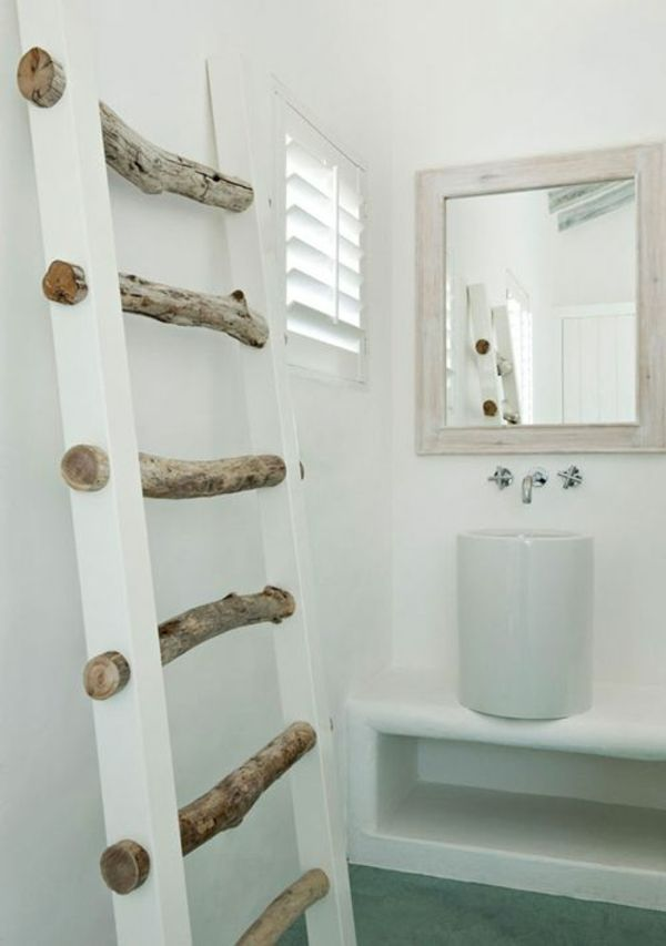 badezimmergestaltung ideen rustikal handtuch leiter holz - ideen badezimmergestaltung