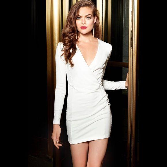 White Long Sleeve Plunge Dress White Long Sleeve Dress Plunge Dress Long Sleeve Mini Dress